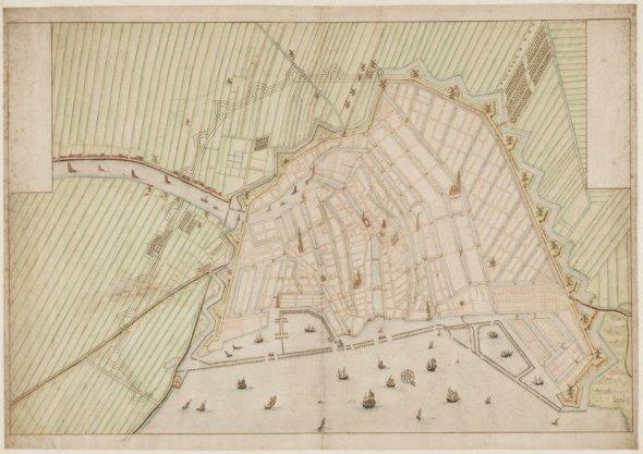 Manuscriptkaart van Amsterdam met buitengebied en enkele in opstand getekende gebouwen, getekend op schaal ca. 1:7.250 door een onbekende kartograaf