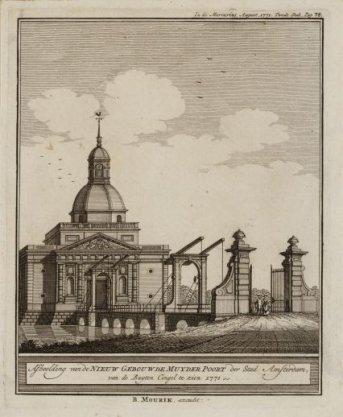 Afbeelding van de Nieuw Gebouwde Muyder Poort der Stad Amsterdam, van de Buyten Cingel te zien 1771