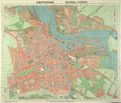 Amsterdam Schaal 1:10000 (voorzijde). Plattegrond van Amsterdam 1934 met alle noodzakelijke aanwijzingen voor vreemdelingen opnieuw naar officiële bronnen (achterzijde)
