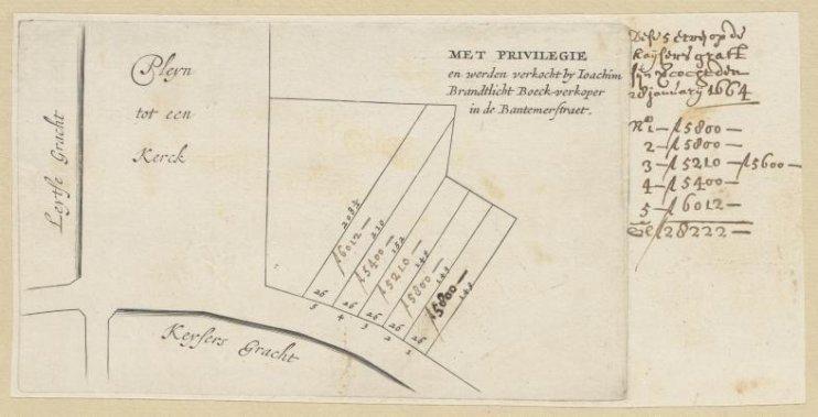 Kaart voor de gronduitgifte van de kavels tussen de Leidsegracht en Keizersgracht