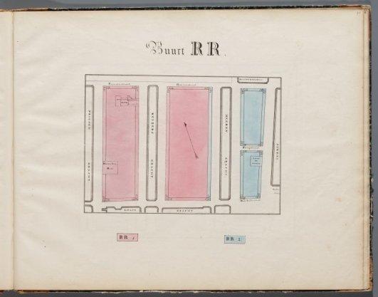 Buurt RR uit de atlas met de Verdeeling der Stad Amsterdam in 50 Buurten, gemerkt A - ZZ
