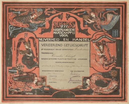 Diploma toegekend aan Cornelis Schuyt als letterzetter bij uitgeverij J.H. de Bussy. Techniek: litho en hoogdruk in goud