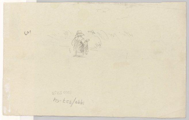 Studie van een figuur in een landschap. Recto: een schuit in de Amstel, op de wal een paard en enige varkens