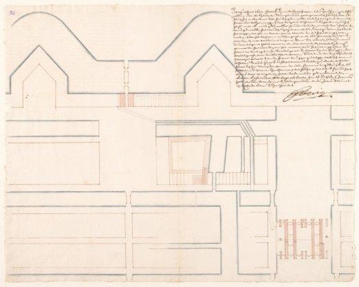 Kaart met het tweede ontwerp van de Amstelsluizen door Daniel Stalpaert