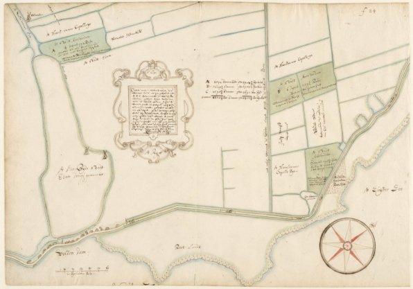 Kaart 17 van Kaartboek A, afkomstig uit het archief van Thesaurieren Ordinaris (toegangsnummer 5039/531) met drie percelen stadsland gelegen tussen Volendam en Edam. Gemeten en getekend door Cornelis Dankerts de Rij. Schaal ca. 1:2.400