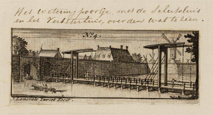 Het Weteringpoortje met de Schutsluis en het Verbeterhuis, over den wal te zien