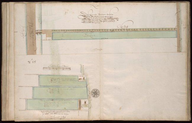 Kaart, niet genummerd, van een Raam en Bleekveld gelegen buiten de Sint-Anthonispoort dat aangenomen is van Claes Jansz Geus. Gelegen tussen de Singelgracht en het Raampad. Schaal ca. 1:3.000 Oriëntatie: noord boven