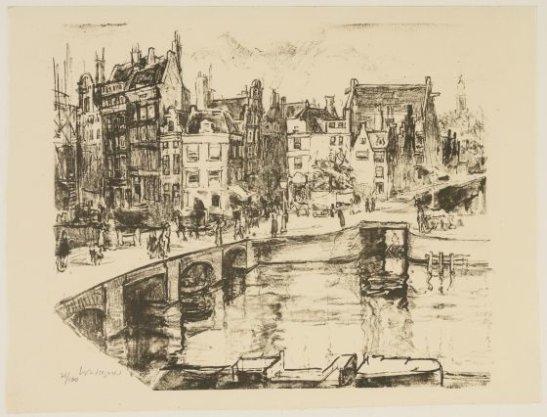 Het Rokin, gezien van uit Arti et Amicitiae, naar de Langebrugsteeg