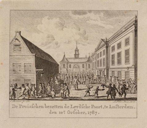 De Pruisschen bezetten de leydsche Poort te Amsterdam den 10e october, 1787