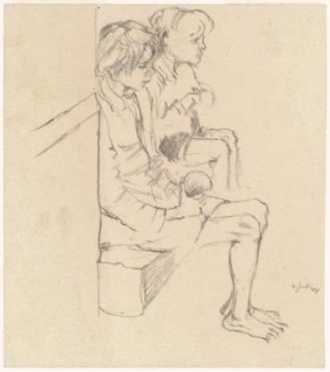 Voedselschaarste in de zomer van 1944; twee kinderen op blote voeten