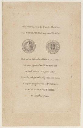 Afbeelding van de Goude Munten van Rudolp Bisschop van Utrecht ... etc
