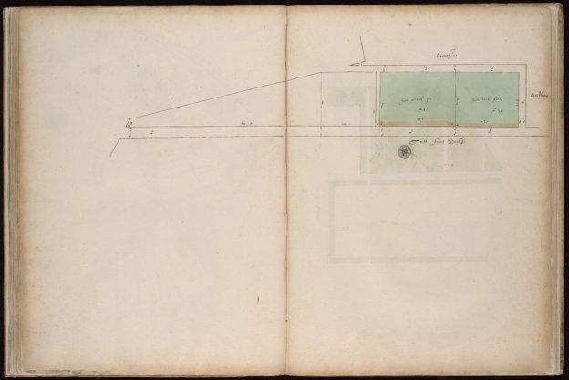 Kaart 47 van Kaartboek C, afkomstig uit het archief van Thesaurieren Ordinaris (toegangsnummer 5039/529) met twee kavels stadsland gelegen buiten de stadsgracht van 1613
