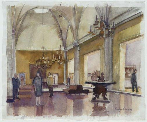 Interieur van het Rijksmuseum met de grote zaal van de buitenlandse schilderscholen (de eregalerij)