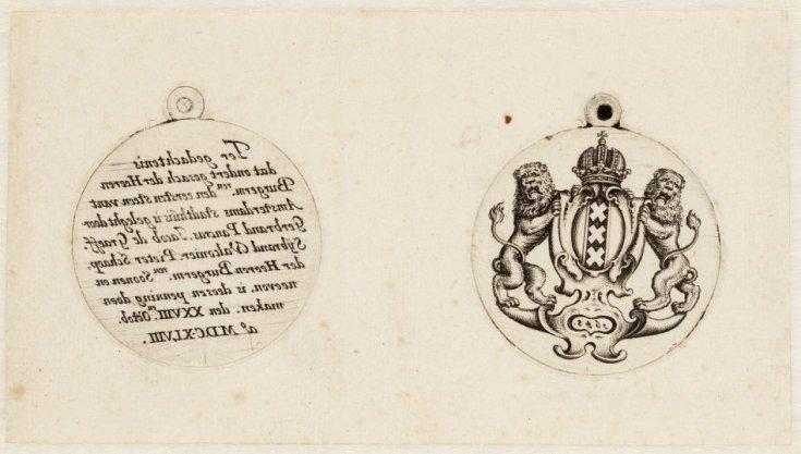 Afdruk van de gouden gedenkpenning die geslagen werd ter gelegenheid van het leggen van de eerste steen van het nieuwe Amsterdamse stadhuis (nu het Koninklijk Paleis op de Dam) op 28 oktober 1648