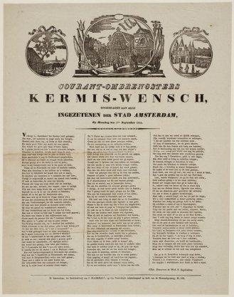 Courant-ombrengsters Kermis-wensch, opgedragen aan alle Ingezetenen der Stad Amsterdam, op maandag den 2den September 1844