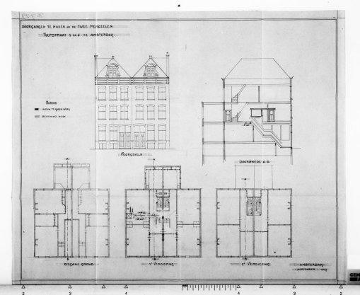 Ontwerptekeningen met aanzichten, plattegronden en doorsneden; nr. 6