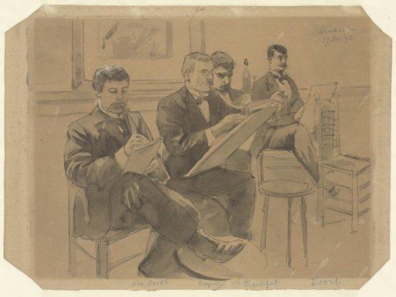 Tekenmiddag bij de Kunstenaarsvereniging Sint Lucas. Van links naar rechts de heren Van Oordt