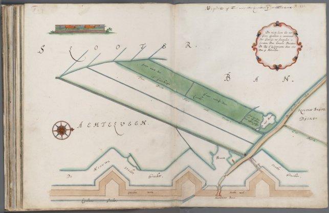 Kaart 21 met drie gemeten percelen gasthuisland, gelegen aan de zuidzijde van de Haarlemmerdijk en buiten de Haarlemmerpoort