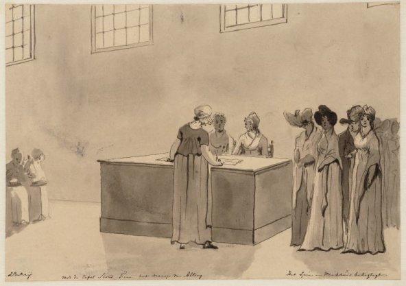 23 Meij voor de tafel stond Fine het meisje van Alting; Het Spin en Werkhuis bezigtigt