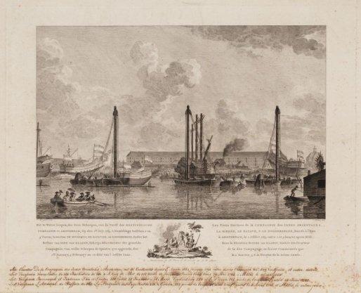 Het te Water loopen, der drie Scheepen, van de Werff der OOSTINDISCHE COMPAGNIE te AMSTERDAM