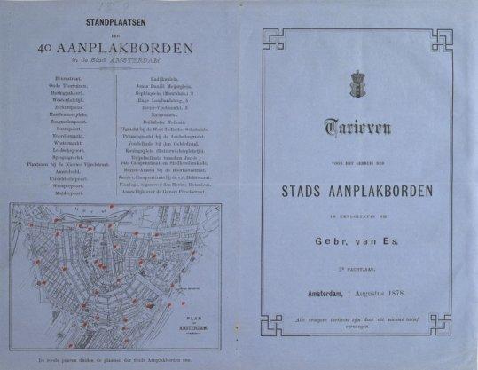 Plan van Amsterdam (kaart); Standplaatsen der 40 Aanplakborden in de Stad Amsterdam (blad)