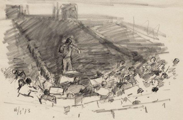 Van Baerlestraat 98, het interieur van het Concertgebouw en Bernard Haitink voor het Concertgebouworkest. Techniek: potlood