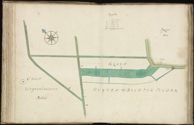 Kaart (rechtsboven genummerd) 17 van kaartboek C van het Burgerweeshuis met met een weer bestaande uit vier kavels gelegen in de Kleine Duivendrechtse Polder tussen de Ringdijk van de Bijlmermeer en de Ouderkerkerlaan en iets ten zuiden van de Nieuweweg naar Abcoude