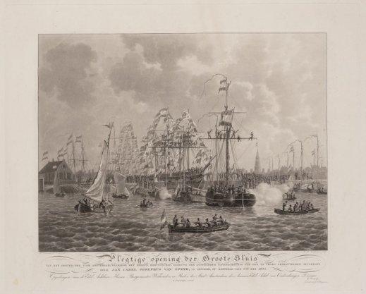 Plegtige opening der Groote Sluis van het Ooster-dok voor Amsterdam, waardoor het eerste Korvetschip, gebouwd ter loffelijker nagedachtenis van den te vroeg gesneuvelden jeugdigen held, Jan Carel Josephus van Speyk, is gevoerd, op Zaturdag den 5den Mei 1832