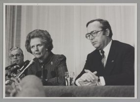 Margaret Thatcher en Wilfried Martens in Brugge.