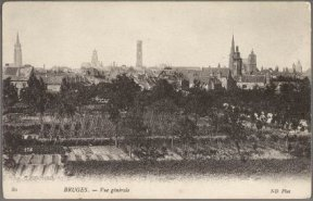 Panorama van Brugge gezien vanaf de molenwal op de Kruisvest.
