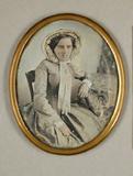 Visualizza Damenbildnis, Dreiviertelfigur mit Hut, um 18… anteprime su