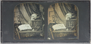 Visualizza Stereo view, memento mori study depicting a t… anteprime su