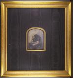 Esikatselunkuvan Bildnis einer jungen Frau in einem großen Stu… näyttö