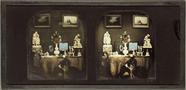 Visualizza Arrangement auf Tisch mit Hund, koloriert, Fr… anteprime su