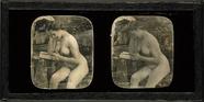 Thumbnail af Aktstudie, Lesende Frau vor einem Spiegel, Fr…