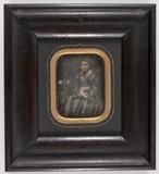 Visualizza Beeld van een jonge vrouw, zittend, ingekleur… anteprime su