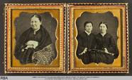 Thumbnail preview of Hüftbild einer sitzenden Frau und Doppelbildn…