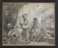 Thumbnail preview van Deux chasseurs assis avec un chien de chasse