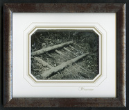 Thumbnail preview of Old wooden ladder on the ground, partly cover…