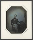 Thumbnail preview of Portrait d'homme en pied, assis, de face, l'a…