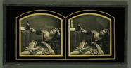 Miniaturansicht Vorschau von Betrunkene Frau mit Weinflasche, um 1855