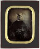 Visualizza seated female knitting; J. Kerbert's mother anteprime su