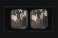 Thumbnail preview van stereoscopic image of a female painter, with …