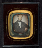Thumbnail preview of Portrait of a man, half figure, seated, resti…