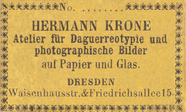 Prévisualisation de photographer label of Hermann Krone, Dresden imagettes