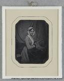 Visualizza Madame Riesener avec coiffe blanche et robe à… anteprime su
