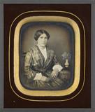 Stručný náhled Portrait de femme, à mi-corps, assise, de tro…