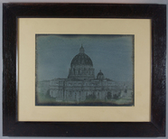 Visualizza View in Rome of St. Peter's church. Small hou… anteprime su