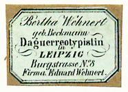 Thumbnail preview of Etikett von Bertha Wehnert, geb. Beckmann