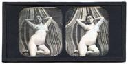Miniaturansicht Vorschau von Eine junge, nackte Frau räkelt sich vor einer…